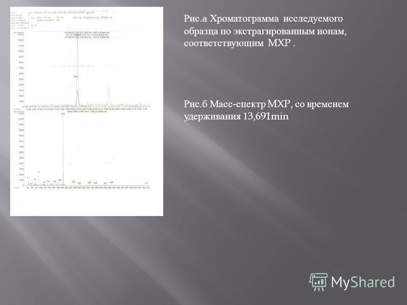 Рис.a Хроматограмма исследуемого образца по экстрагированным ионам, соответствующим MXP. Рис. б Масс - спектр MXP, со временем удерживания 13,691min