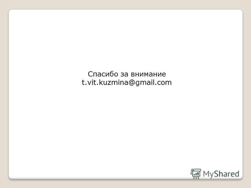 Спасибо за внимание t.vit.kuzmina@gmail.com