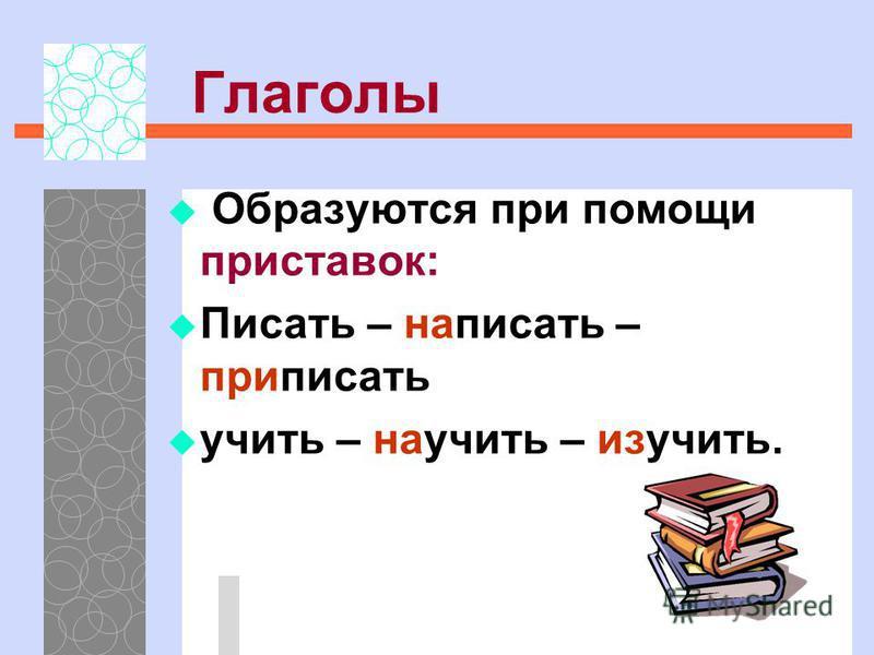 Глаголы Образуются при помощи приставок: Писать – написать – приписать учить – научить – изучить.