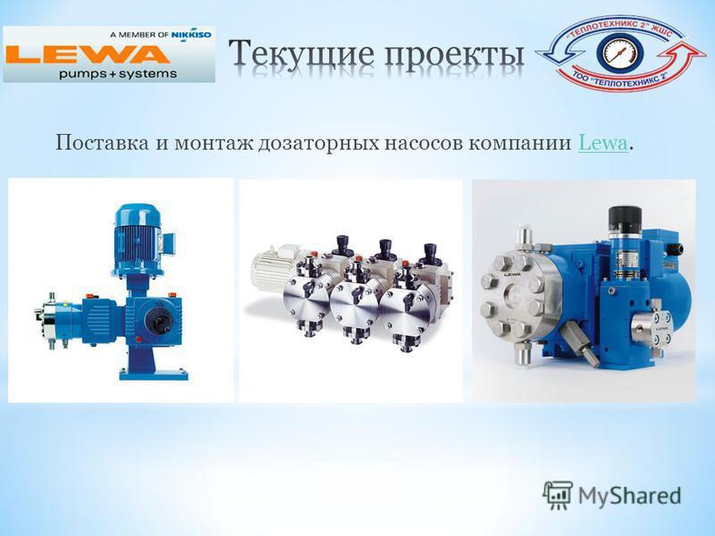 Поставка и монтаж дозаторных насосов компании Lewa.Lewa