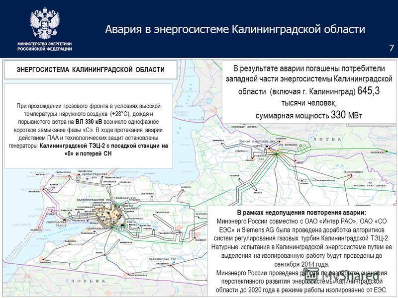 Авария в энергосистеме Калининградской области 7 ЭНЕРГОСИСТЕМА КАЛИНИНГРАДСКОЙ ОБЛАСТИ В результате аварии погашены потребители западной части энергосистемы Калининградской области (включая г. Калининград) 645,3 тысячи человек, суммарная мощность 330