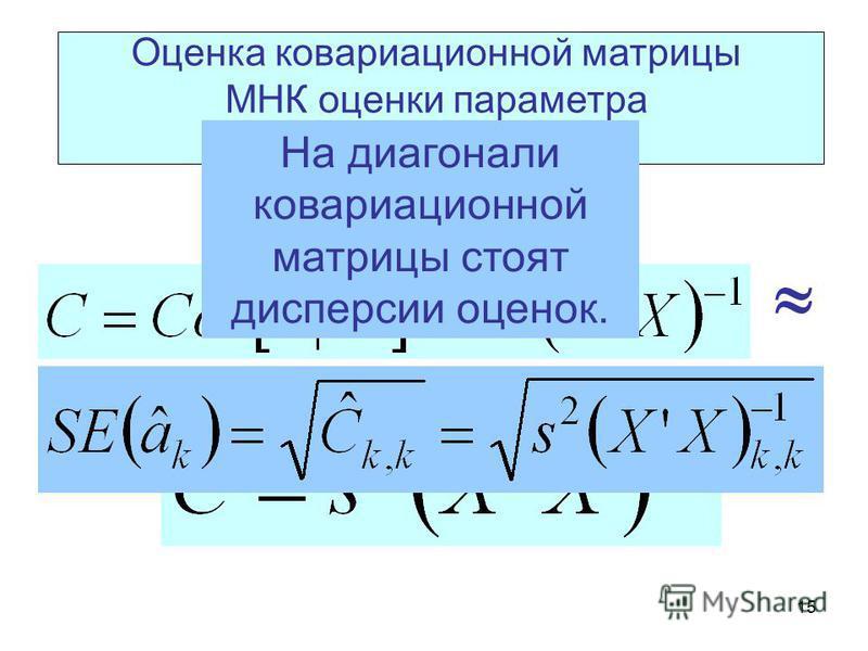 15 Оценка ковариационной матрицы МНК оценки параметра линейной регрессии На диагонали ковариационной матрицы стоят дисперсии оценок.