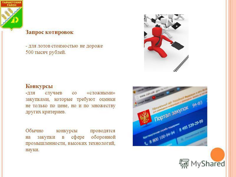 Запрос котировок - для лотов стоимостью не дороже 500 тысяч рублей. Конкурсы -для случаев со «сложными» закупками, которые требуют оценки не только по цене, но и по множеству других критериев. Обычно конкурсы проводятся на закупки в сфере оборонной п