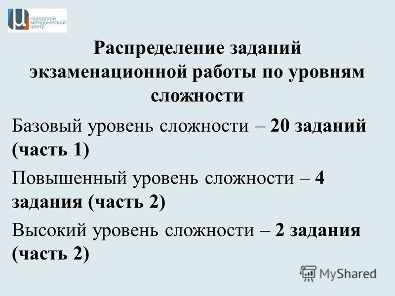 Распределение заданий экзаменационной работы по уровням сложности Базовый уровень сложности – 20 заданий (часть 1) Повышенный уровень сложности – 4 задания (часть 2) Высокий уровень сложности – 2 задания (часть 2)