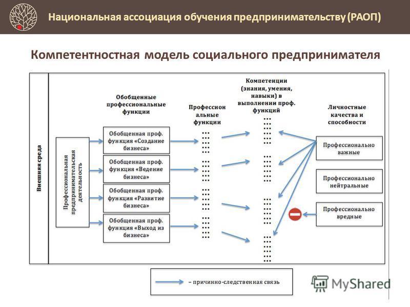 Предпринимательское образование Национальная ассоциация обучения предпринимательству (РАОП) Компетентностная модель социального предпринимателя
