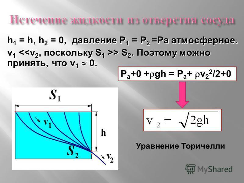 Р а +0 + gh = Р а + v 2 2 /2+0 h 1 = h, h 2 = 0, давление Р 1 = Р 2 =Ра атмосферное. v 1 > S 2. Поэтому можно принять, что v 1 0. Уравнение Торичелли