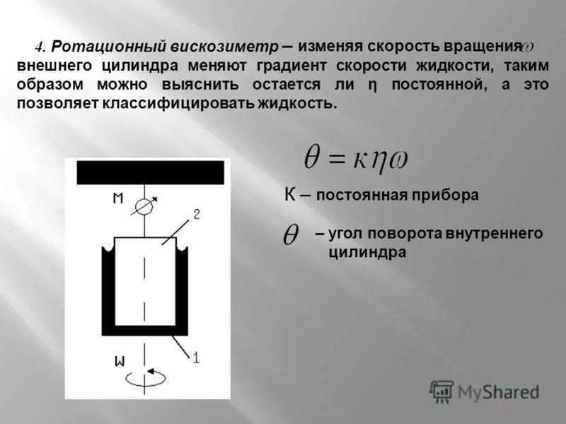 4. Ротационный вискозиметр К – постоянная прибора – изменяя скорость вращения внешнего цилиндра меняют градиент скорости жидкости, таким образом можно выяснить остается ли η постоянной, а это позволяет классифицировать жидкость. – угол поворота внутр