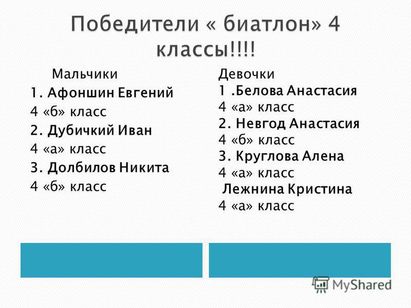 Мальчики 1. Афоншин Евгений 4 «б» класс 2. Дубичкий Иван 4 «а» класс 3. Долбилов Никита 4 «б» класс Девочки 1. Белова Анастасия 4 «а» класс 2. Невгод Анастасия 4 «б» класс 3. Круглова Алена 4 «а» класс Лежнина Кристина 4 «а» класс