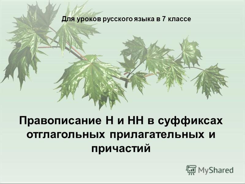Для уроков русского языка в 7 классе Правописание Н и НН в суффиксах отглагольных прилагательных и причастий