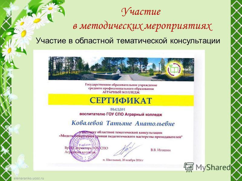 Участие в областной тематической консультации Участие в методических мероприятиях
