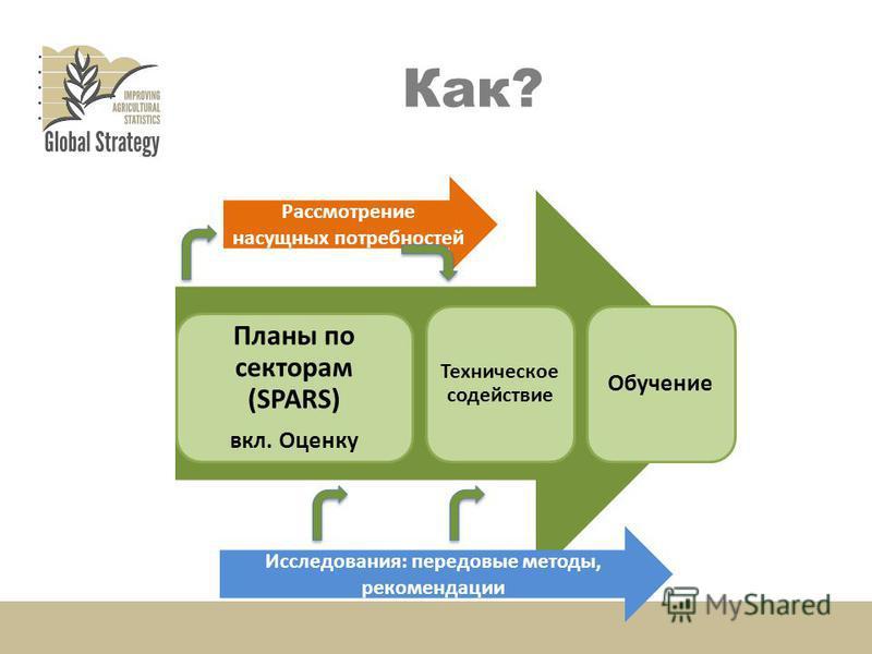 Как? Country assessments Планы по секторам (SPARS) вкл. Оценку Техническое содействие Обучение Рассмотрение насущных потребностей Исследования: передовые методы, рекомендации