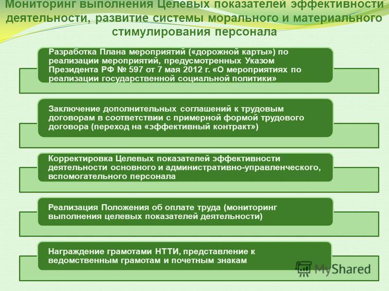 Мониторинг выполнения Целевых показателей эффективности деятельности, развитие системы морального и материального стимулирования персонала Разработка Плана мероприятий («дорожной карты») по реализации мероприятий, предусмотренных Указом Президента РФ