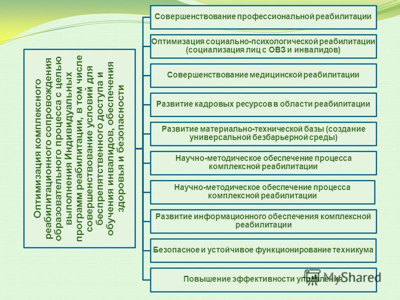 Оптимизация комплексного реабилитационного сопровождения образовательного процесса с целью выполнения Индивидуальных программ реабилитации, в том числе совершенствование условий для беспрепятственного доступа и обучения инвалидов, обеспечения здоровь