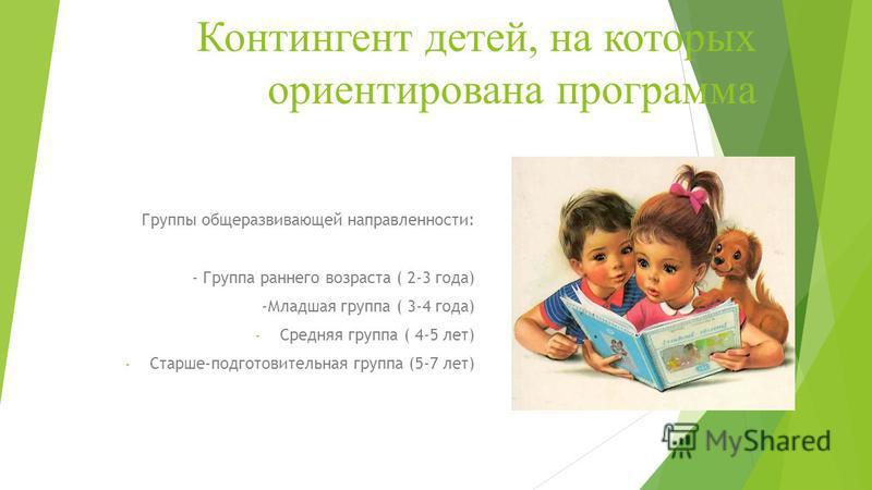 Контингент детей, на которых ориентирована программа Группы общеразвивающей направленности: - Группа раннего возраста ( 2-3 года) -Младшая группа ( 3-4 года) - Средняя группа ( 4-5 лет) - Старше-подготовительная группа (5-7 лет)