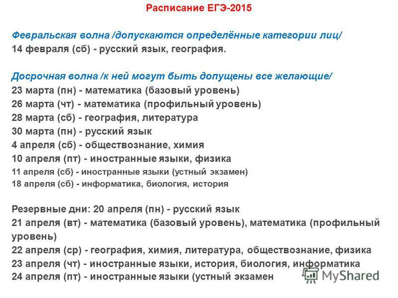 Расписание ЕГЭ-2015 Февральская волна /допускаются определённые категории лиц/ 14 февраля (сб) - русский язык, география. Досрочная волна /к ней могут быть допущены все желающие/ 23 марта (пн) - математика (базовый уровень) 26 марта (чт) - математика