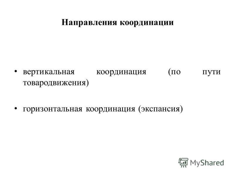 Направления координации вертикальная координация (по пути товародвижения) горизонтальная координация (экспансия)