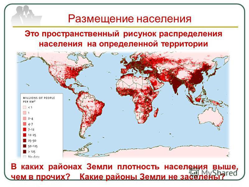 Размещение населения Это пространственный рисунок распределения населения на определенной территории В каких районах Земли плотность населения выше, чем в прочих? Какие районы Земли не заселены?