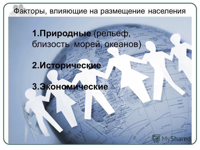 1. Природные (рельеф, близость морей, океанов) 2. Исторические 3. Экономические Факторы, влияющие на размещение населения