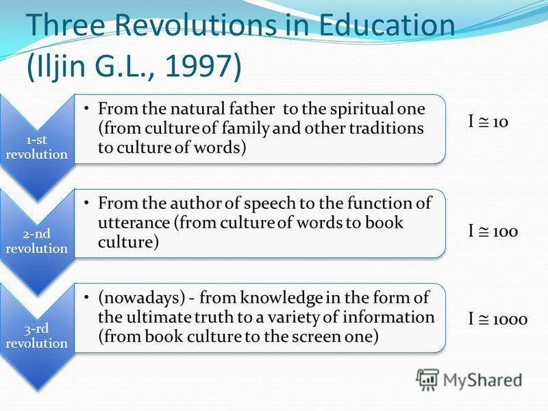 Three Revolutions in Education (Iljin G.L., 1997) I 10 I 100 I 1000