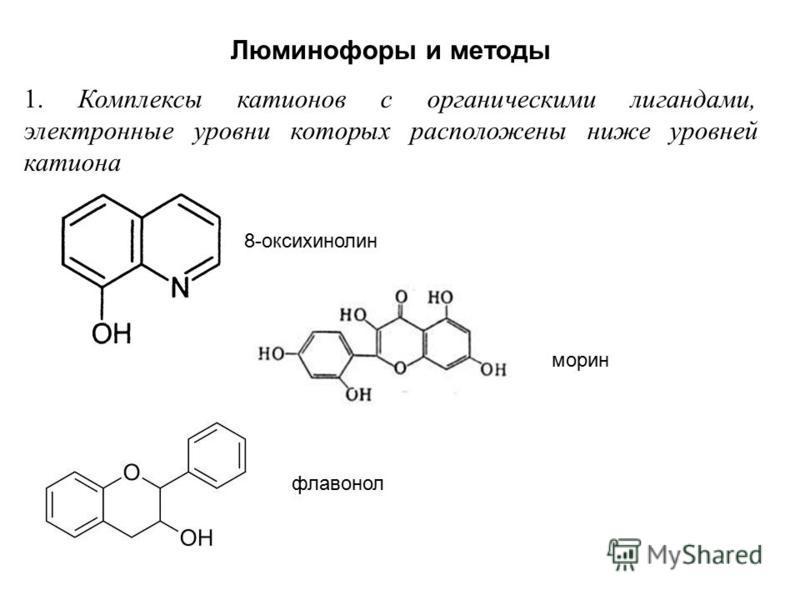 Люминофоры и методы 1. Комплексы катионов с органическими лигандами, электронные уровни которых расположены ниже уровней катиона 8-оксихинолин морин флаванол