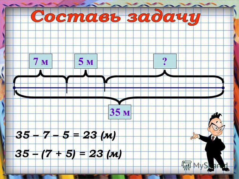 35 м 7 м 5 м? 35 – 7 – 5 = 23 (м) 35 – (7 + 5) = 23 (м)