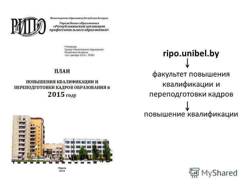 ripo.unibel.by факультет повышения квалификации и переподготовки кадров повышение квалификации