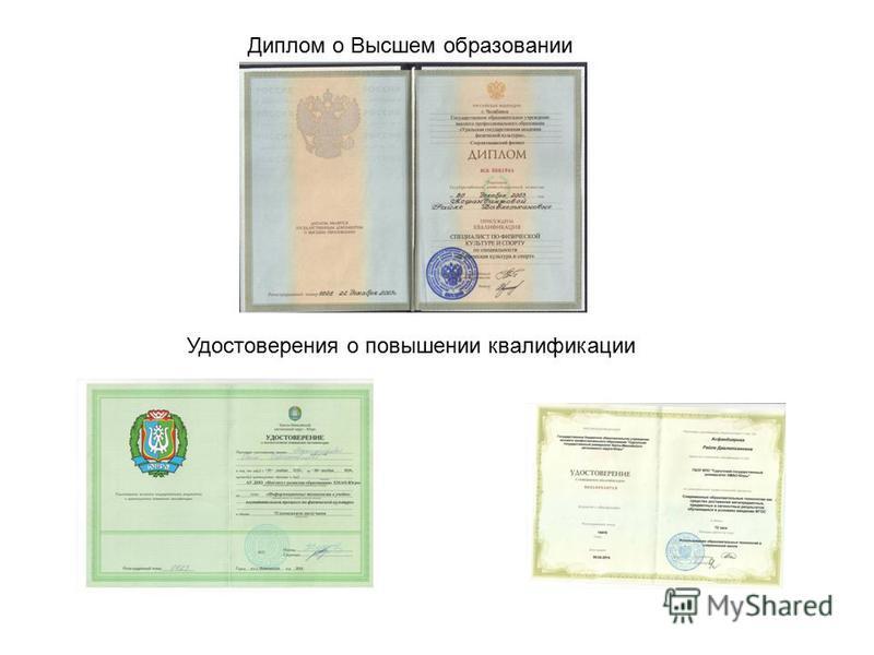 Диплом о Высшем образовании Удостоверения о повышении квалификации
