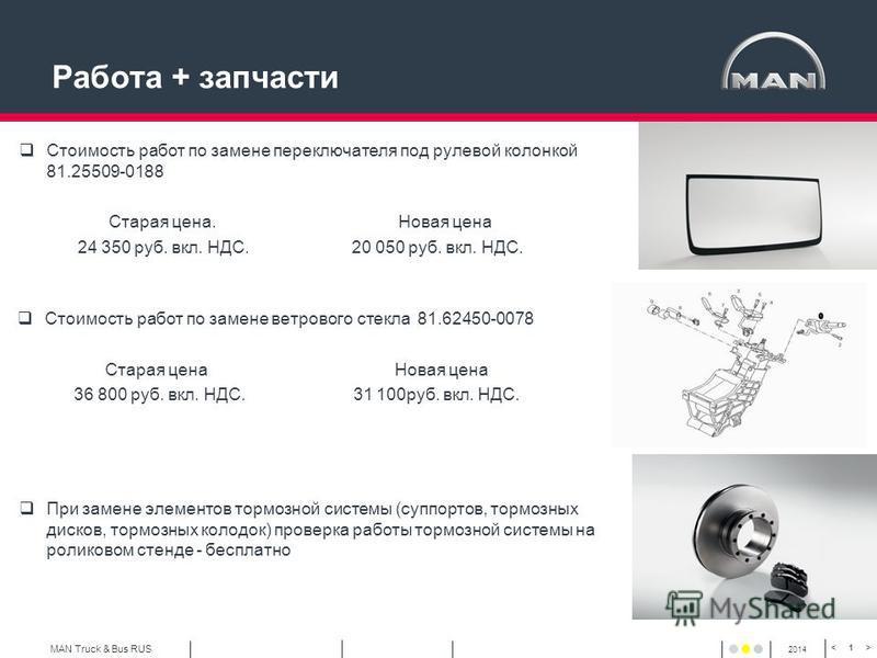 MAN Truck & Bus RUS 2014 1 Работа + запчасти Стоимость работ по замене ветрового стекла 81.62450-0078 Старая цена Новая цена 36 800 руб. вкл. НДС. 31 100 руб. вкл. НДС. Стоимость работ по замене переключателя под рулевой колонкой 81.25509-0188 Старая