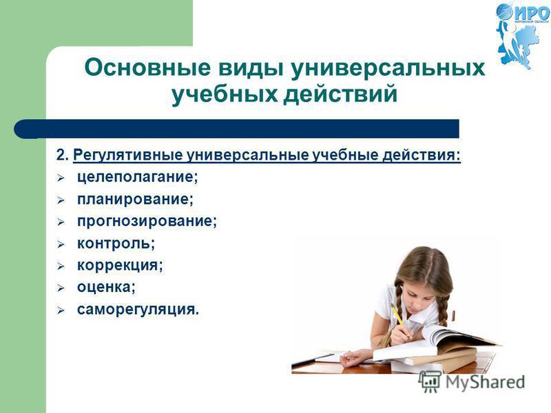 Основные виды универсальных учебных действий 2. Регулятивные универсальные учебные действия: целеполагание; планирование; прогнозирование; контроль; коррекция; оценка; саморегуляция.
