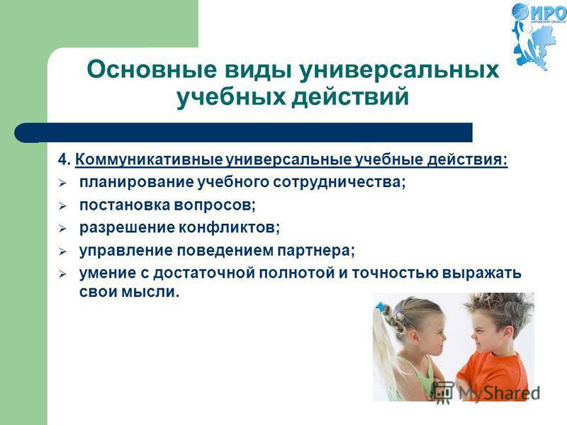 Основные виды универсальных учебных действий 4. Коммуникативные универсальные учебные действия: планирование учебного сотрудничества; постановка вопросов; разрешение конфликтов; управление поведением партнера; умение с достаточной полнотой и точность