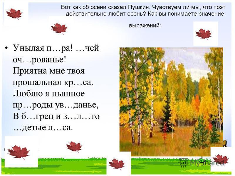 Вот как об осени сказал Пушкин. Чу вствуем ли мы, что поэт действительно любит осень? Как вы понимаете значение выражений: Унылая п…ра! …чей оч…рованье! Приятна мне твоя прощальная кр…са. Люблю я пышное пр…роды у в…данье, В б…грез и з…л…то …детые л…с