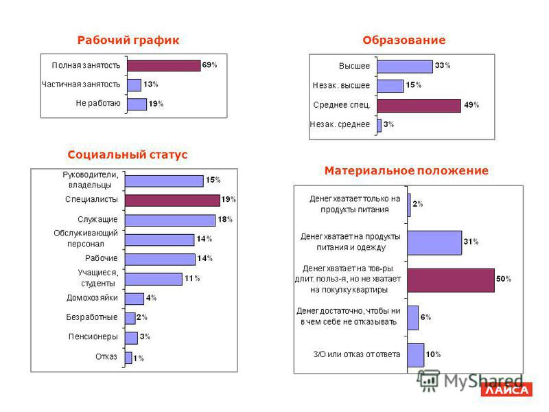 Социальный статус Материальное положение Рабочий график Образование