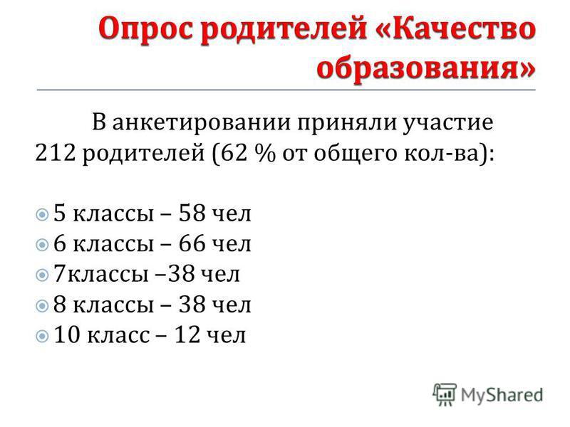 В анкетировании приняли участие 212 родителей (62 % от общего кол - ва ): 5 классы – 58 чел 6 классы – 66 чел 7 классы –38 чел 8 классы – 38 чел 10 класс – 12 чел