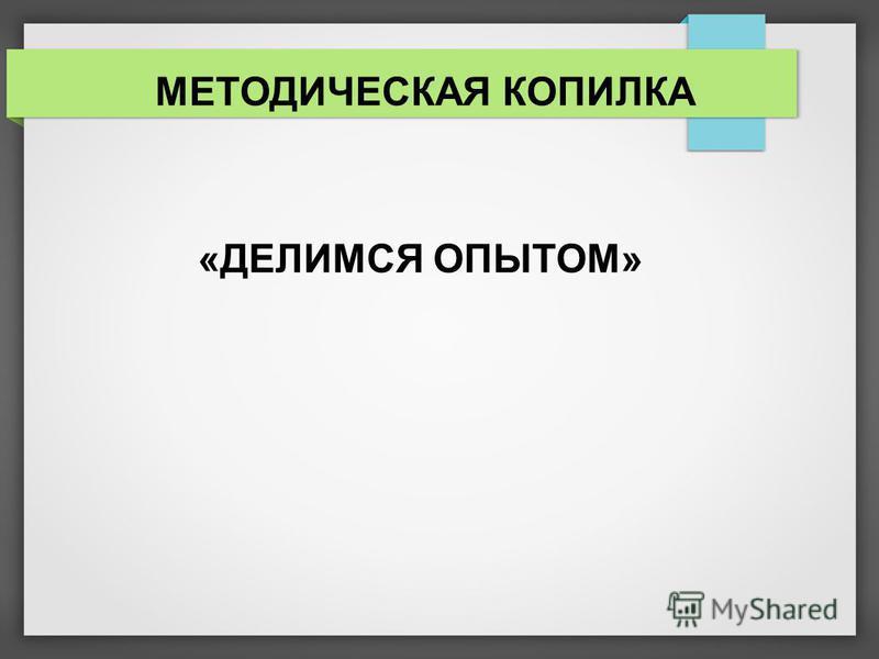 МЕТОДИЧЕСКАЯ КОПИЛКА «ДЕЛИМСЯ ОПЫТОМ»