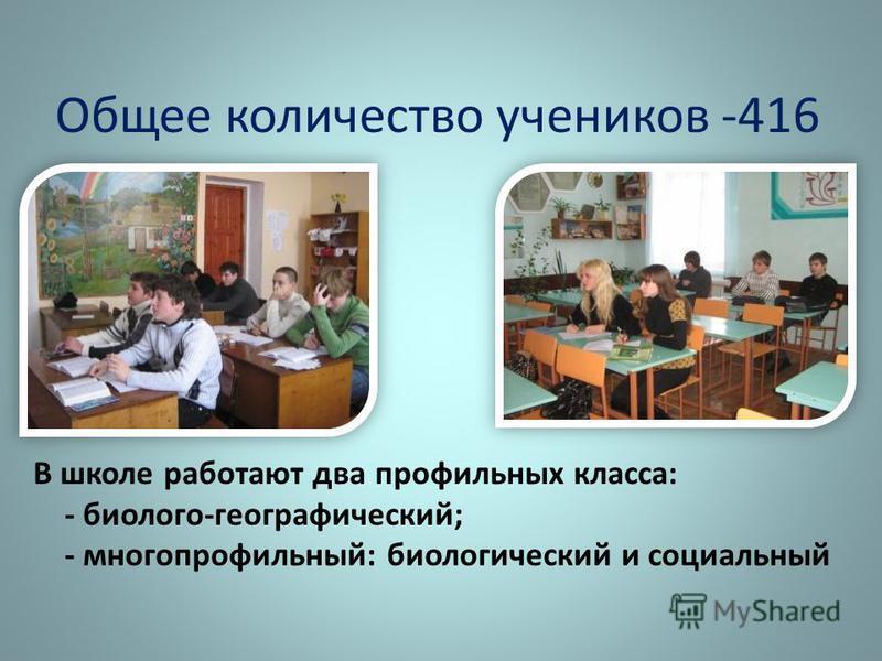 Общее количество учеников -416 В школе работают два профильных класса: - биолого-географический; - многопрофильный: биологический и социальный