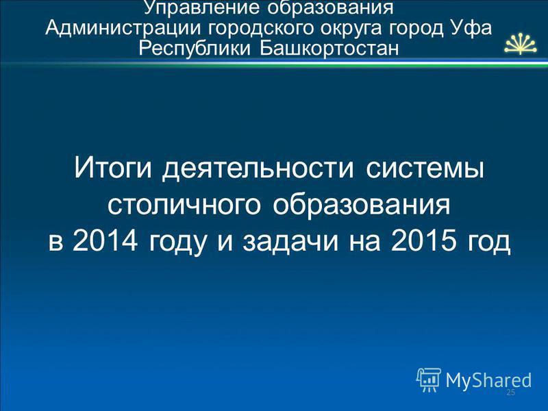 Итоги деятельности системы столичного образования в 2014 году и задачи на 2015 год Управление образования Администрации городского округа город Уфа Республики Башкортостан 25
