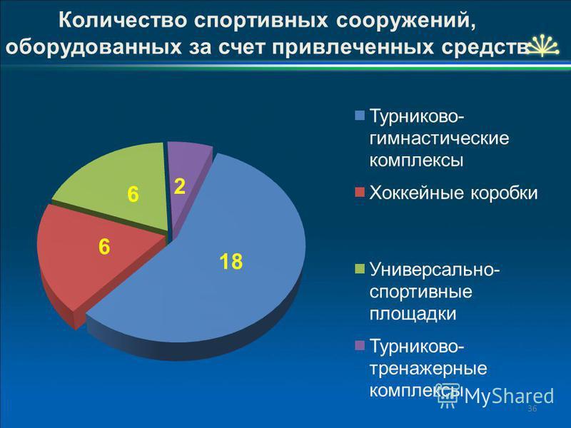 36 Количество спортивных сооружений, оборудованных за счет привлеченных средств