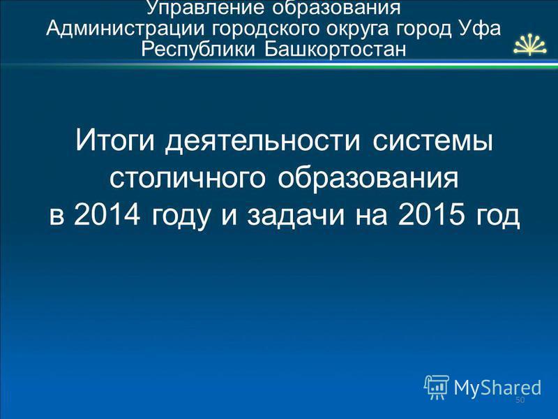 Итоги деятельности системы столичного образования в 2014 году и задачи на 2015 год Управление образования Администрации городского округа город Уфа Республики Башкортостан 50