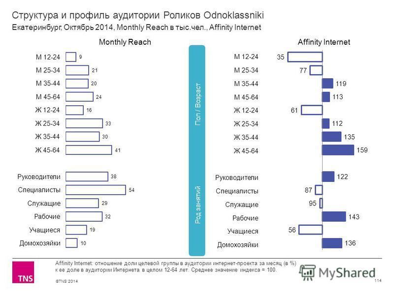 ©TNS 2014 Структура и профиль аудитории Роликов Odnoklassniki 114 Affinity Internet: отношение доли целевой группы в аудитории интернет-проекта за месяц (в %) к ее доле в аудитории Интернета в целом 12-64 лет. Среднее значение индекса = 100. Екатерин