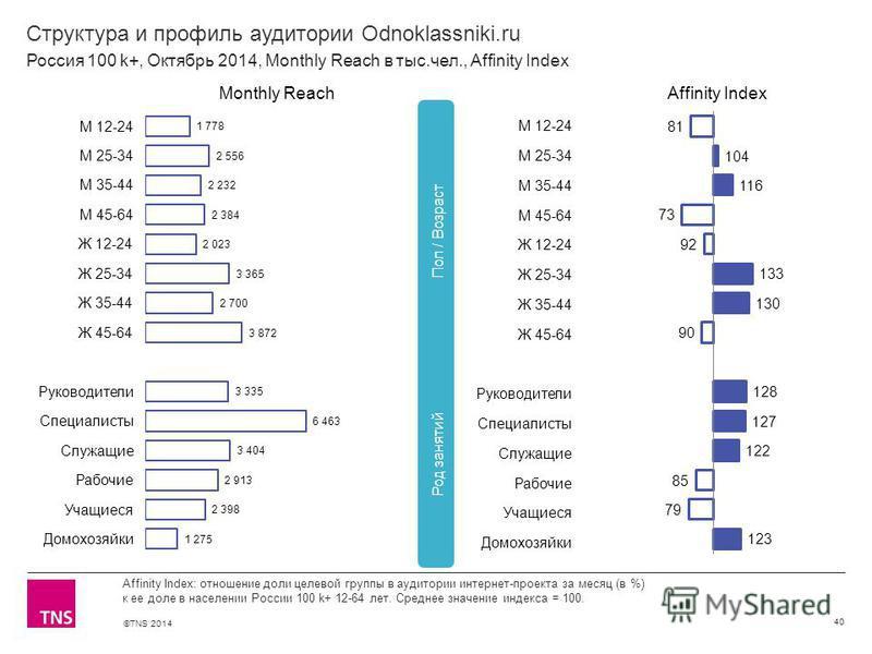 ©TNS 2014 Структура и профиль аудитории Odnoklassniki.ru 40 Affinity Index: отношение доли целевой группы в аудитории интернет-проекта за месяц (в %) к ее доле в населении России 100 k+ 12-64 лет. Среднее значение индекса = 100. Россия 100 k+, Октябр