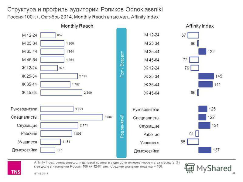 ©TNS 2014 Структура и профиль аудитории Роликов Odnoklassniki 44 Affinity Index: отношение доли целевой группы в аудитории интернет-проекта за месяц (в %) к ее доле в населении России 100 k+ 12-64 лет. Среднее значение индекса = 100. Россия 100 k+, О