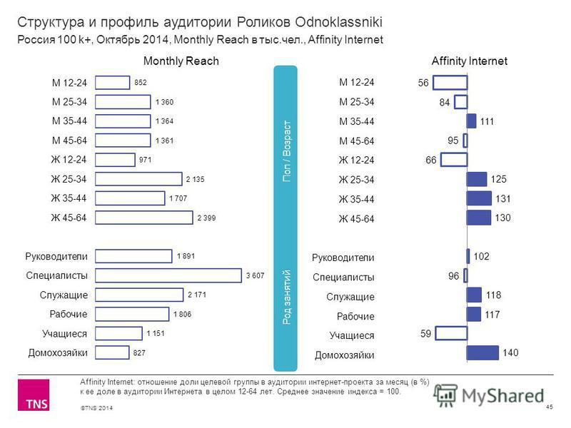 ©TNS 2014 Структура и профиль аудитории Роликов Odnoklassniki 45 Affinity Internet: отношение доли целевой группы в аудитории интернет-проекта за месяц (в %) к ее доле в аудитории Интернета в целом 12-64 лет. Среднее значение индекса = 100. Россия 10