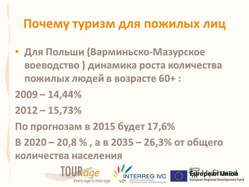Почему туризм для пожилых лиц Для Польши (Bарминьско-Mазурское воеводство ) динамика роста количества пожилых людей в возрасте 60+ : 2009 – 14,44% 2012 – 15,73% По прогнозам в 2015 будет 17,6% В 2020 – 20,8 %, а в 2035 – 26,3% от общего количества на