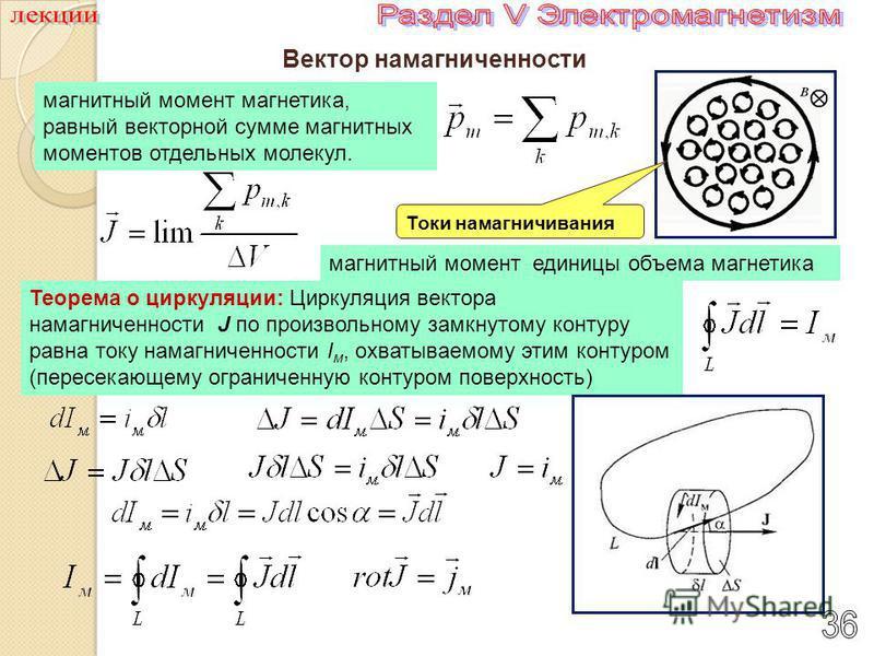 Вектор намагниченности магнитный момент магнетика, равный векторной сумме магнитных моментов отдельных молекул. магнитный момент единицы объема магнетика Токи намагничивания Теорема о циркуляции: Циркуляция вектора намагниченности J по произвольному