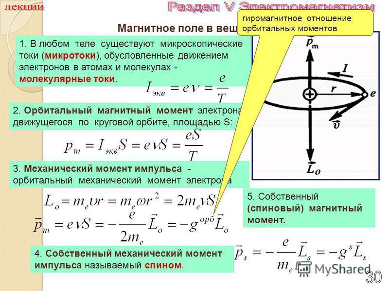 Магнитное поле в веществе 1. В любом теле существуют микроскопические токи (микротоки), обусловленные движением электронов в атомах и молекулах - молекулярные токи. 2. Орбитальный магнитный момент электрона, движущегося по круговой орбите, площадью S