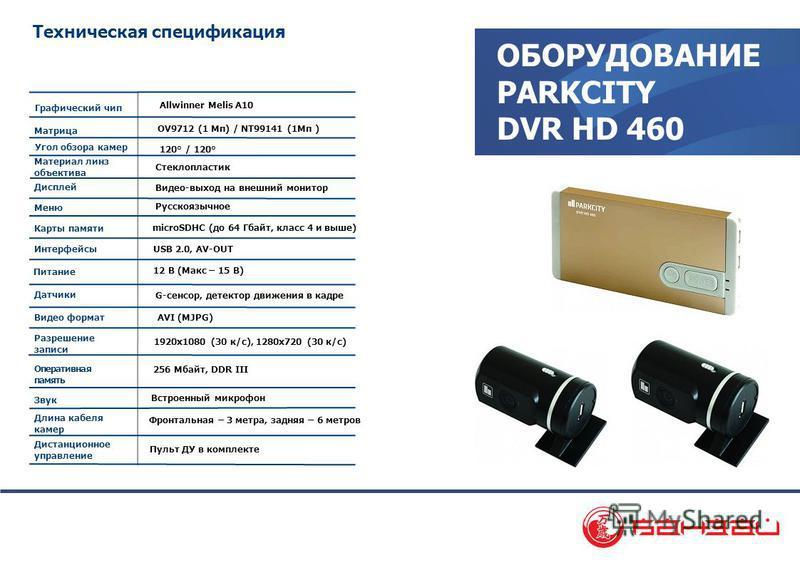 ОБОРУДОВАНИЕ PARKCITY DVR HD 460 Техническая спецификация Allwinner Melis A10 OV9712 (1 Мп) / NT99141 (1Mп ) 120° / 120° Стеклопластик Русскоязычное microSDHC (до 64 Гбайт, класс 4 и выше) USB 2.0, AV-OUT AVI (MJPG) 12 В (Макс – 15 В) Матрица Дисплей