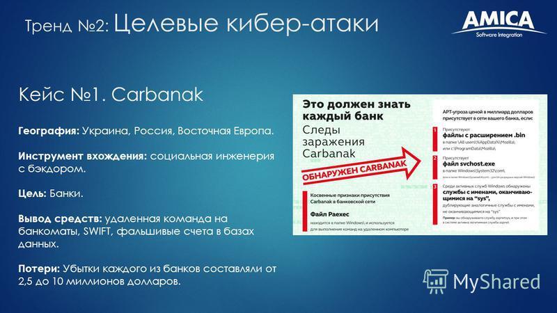 Кейс 1. Carbanak География: Украина, Россия, Восточная Европа. Инструмент вхождения: социальная инженерия с бэкдором. Цель: Банки. Вывод средств: удаленная команда на банкоматы, SWIFT, фальшивые счета в базах данных. Потери: Убытки каждого из банков