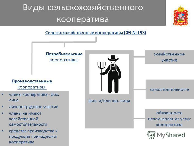 Виды сельскохозяйственного кооператива Сельскохозяйственные кооперативы (ФЗ 193) члены кооператива - физ. лица личное трудовое участие члены не имеют хозяйственной самостоятельности средства производства и продукция принадлежат кооперативу Потребител