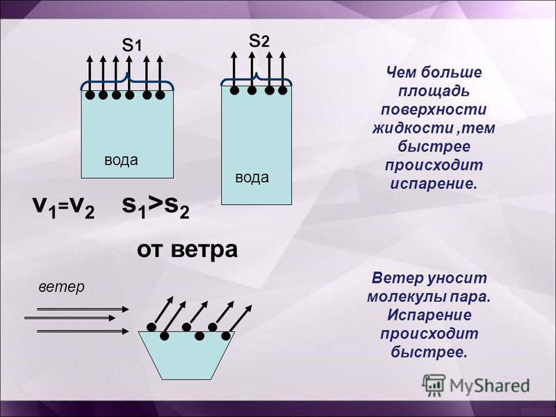 вода v1=v2v1=v2 Чем больше площадь поверхности жидкости,тем быстрее происходит испарение. от ветра ветер Ветер уносит молекулы пара. Испарение происходит быстрее. s 1 >s 2 s1s1 s2s2