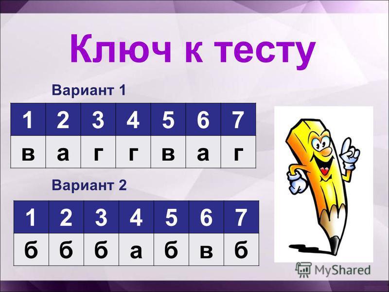 Ключ к тесту 1234567 ваггваг Вариант 1 Вариант 2 1234567 бббабвб